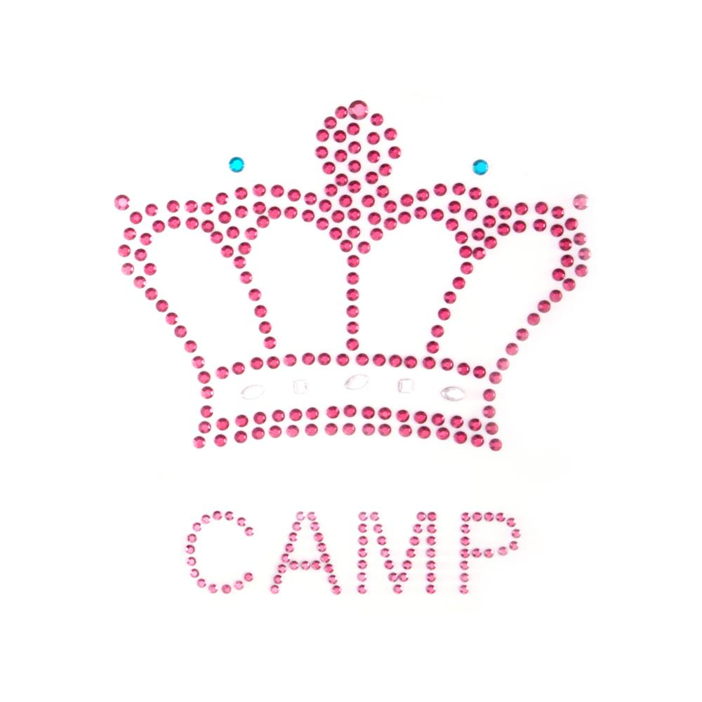 Camp Queen with Crown Rhinestud Applique Pink