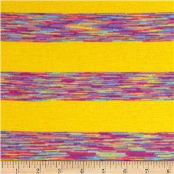 Designer Rayon Blend Jersey Knit Multi Stripes Yellow