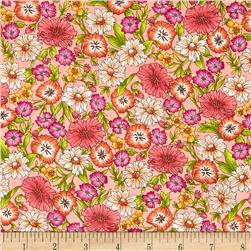 Kaufman London Calling Lawn Floral Spray Peach Fabric