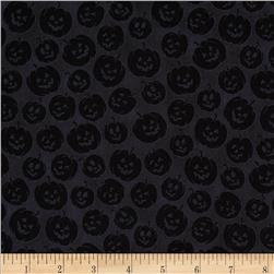 Witches Brew Ha Ha Pumpkin Tonal Black Fabric