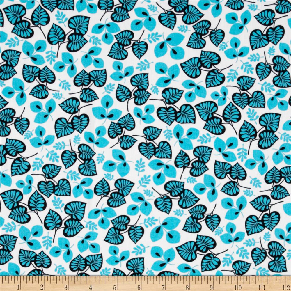 Geneva Retro Tossed Leaves Aqua