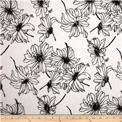 Printed Lace Floral Soft Black/White Fabric