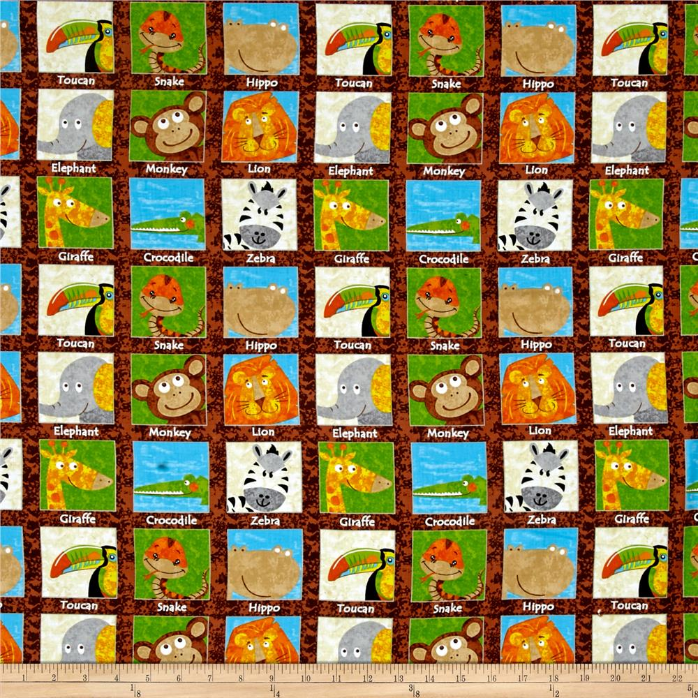 Safari Expedition Animals In Squares Brown Fabric