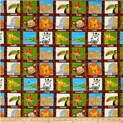 Safari Expedition Animals In Squares Brown