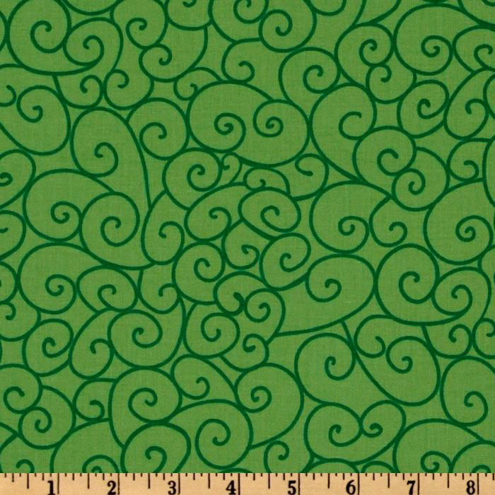 Michael Miller Nordic Holiday Swirly Gig Green