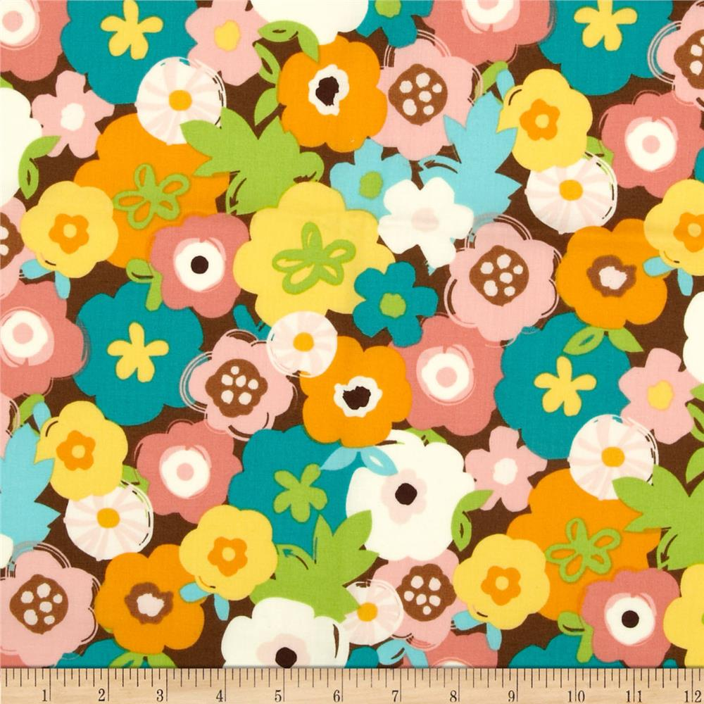 Creatures & Critters Large Flowers Allover Brown