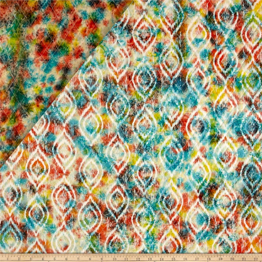 Double Face Quilted Indian Batik Diamond Ikat Coral/Teal