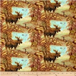Mountain Woods Scenic Animals Brown/Multi