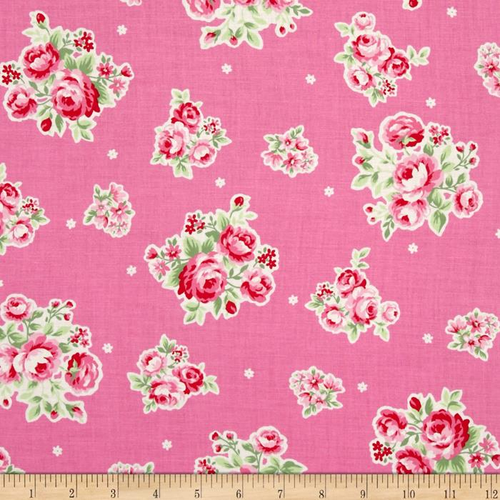Lecien Flower Sugar Medium Floral Toss w/ White Tiny Flowers Pink