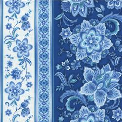 Timeless Treasures Vienna Floral Border Stripe Navy Fabric