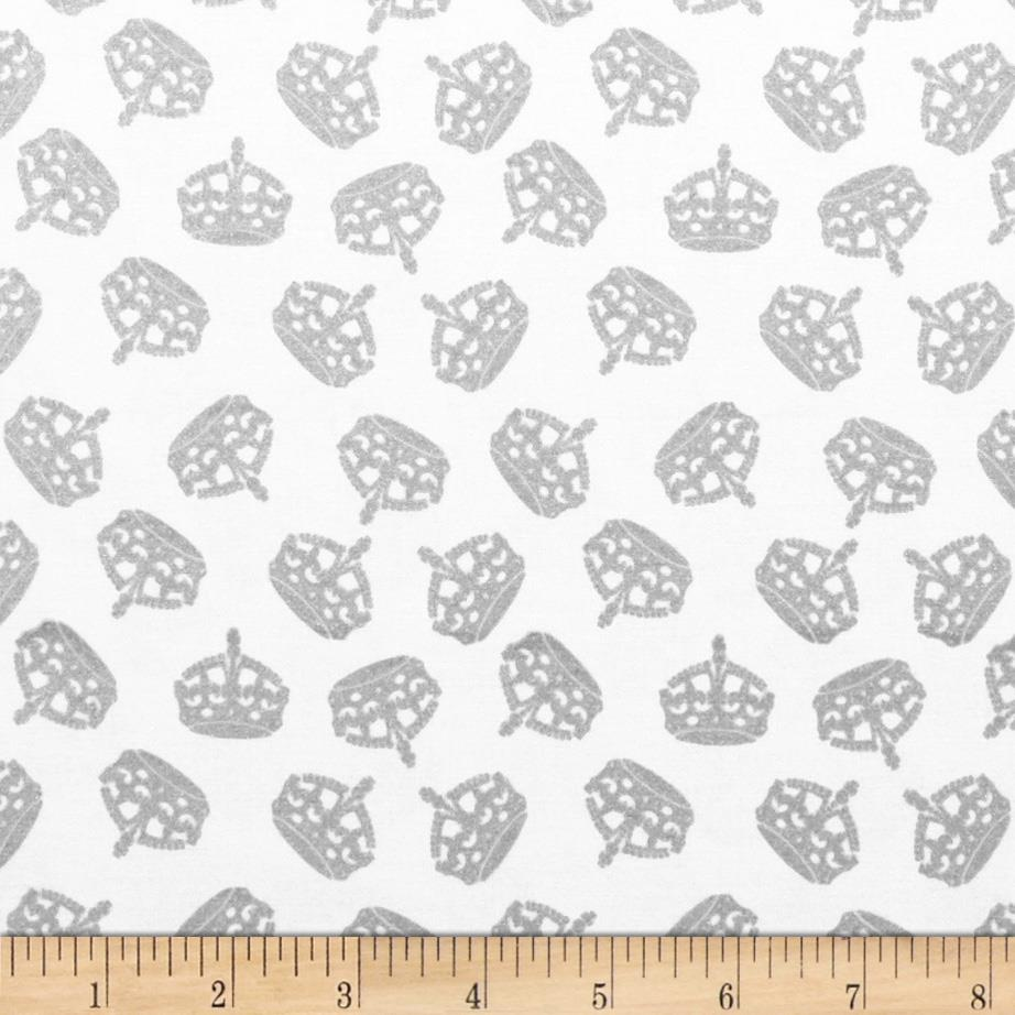 Riley Blake Hollywood Sparkle Crowns Grey