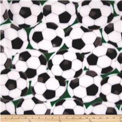 WinterFleece Soccer Balls Green Fabric