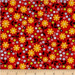 The Little Red Hen Medium Floral Red