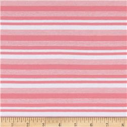 Rayon Stretch Yarn-Dyed Jersey Knit Stripes Melon/White Fabric