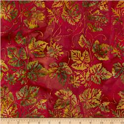 Island Batik Holiday Leaves Red