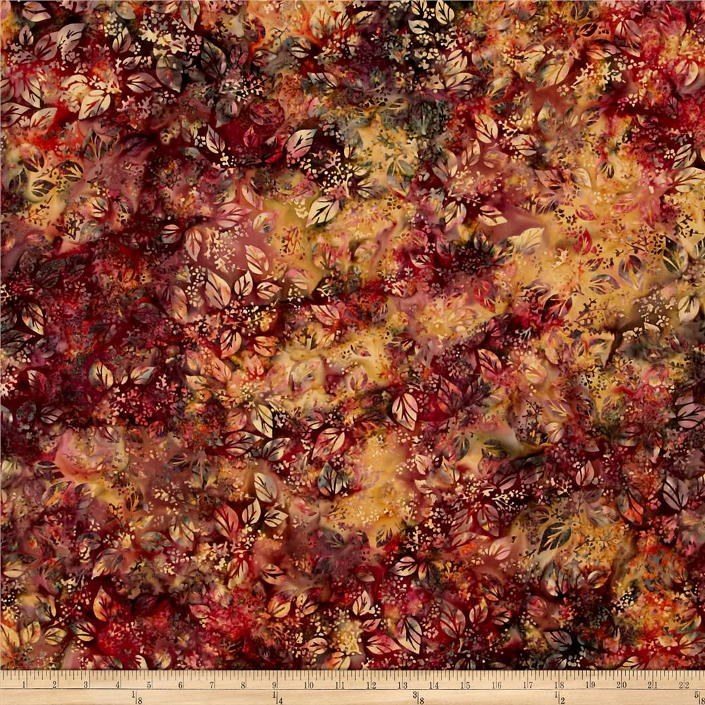 Bali Handpaint Batiks Leaf And Berry Mix Mulberry