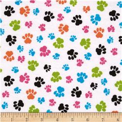 Flannel Paw Prints White/Multi