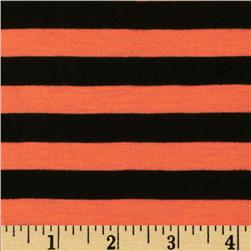 Stretch Yarn-Dyed Jersey Knit Stripes Orange/Black Fabric