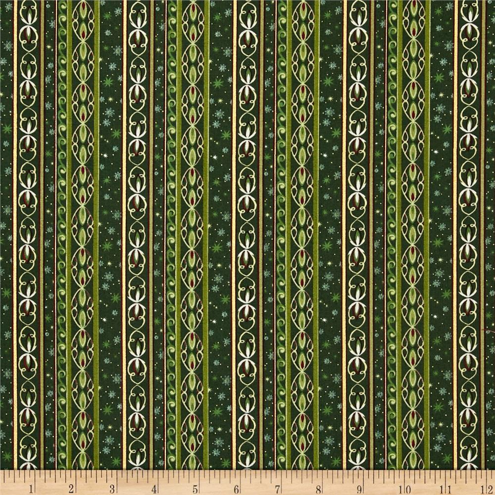 Holiday Classics Metallic Decorative Stripe Forest