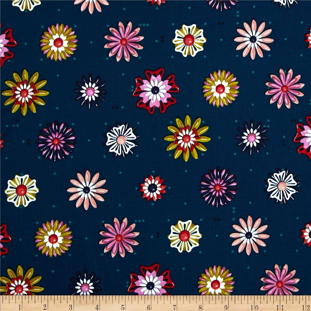 Cotton + Steel Picnic Enamel Flowers Teal