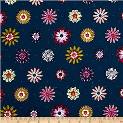 Cotton & Steel Picnic Enamel Flowers Teal