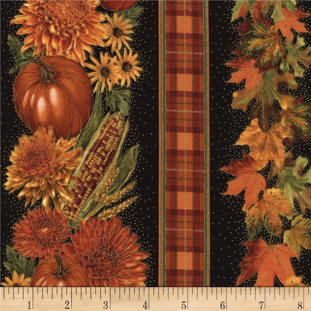 Timeless Treasures Golden Harvest Metallic Harvest Border Black Fabric