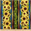 Sunflowers Border Stripe Blue