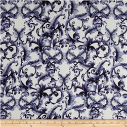 Chagall Crepe de Chine Scrolls Navy/Cream Fabric