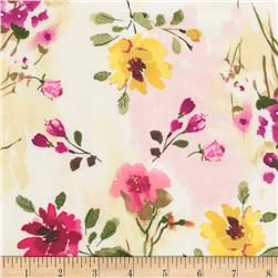 Timeless Treasures Muse Tossed Watercolor Floral Natural