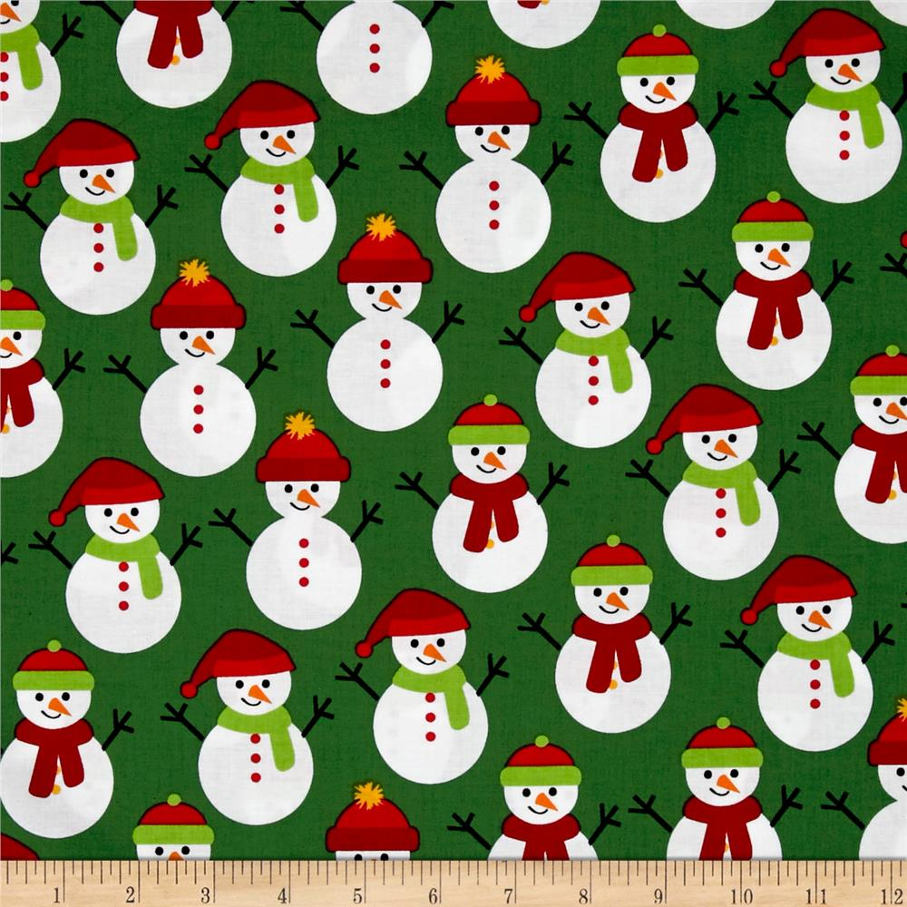 Kaufman Jingle 4 Snowmen Green