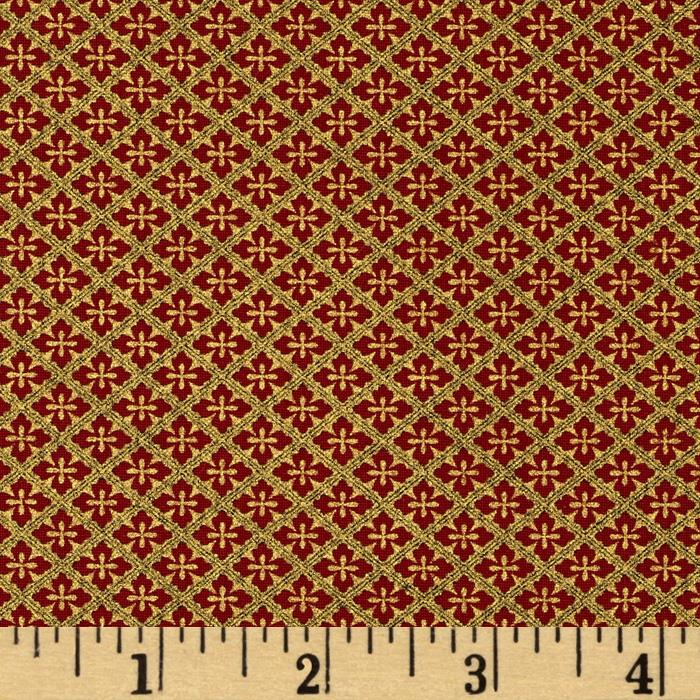 Timeless Treasures Imperial Garden Metallic Mini Quatrefoil Red