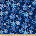 Christmas Flannel Snowflakes Blue