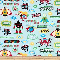 Kaufman Superhero Minky Cuddle Superheroes Adventure Blue Fabric