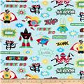 Kaufman Superhero Minky Cuddle Superheroes Adventure Blue