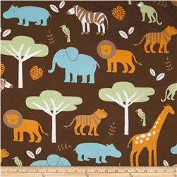 Minky Cuddle Jungle Tales Brown Fabric