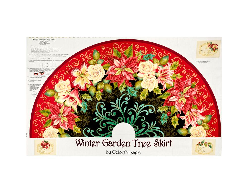 Winter Garden Metallic 36in. Tree Skirt Panel Multi