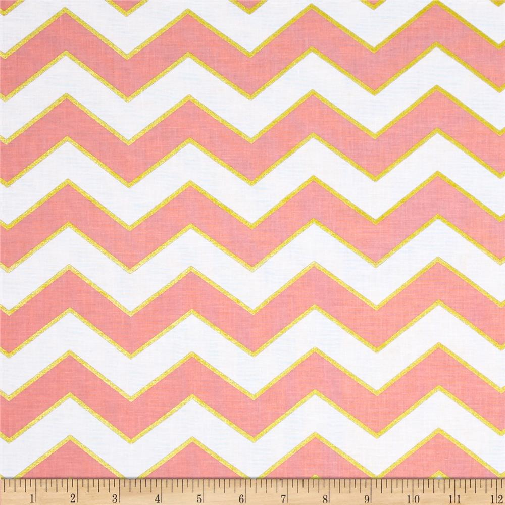Michael Miller Glitz Metallic Chic Chevron Pearlized Blush
