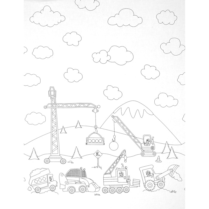 Michael Miller Color Me Construction Zone Border Fabric