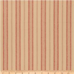 French General Stripe Blend Rural Red Fabric