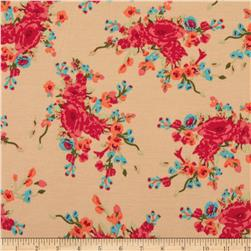 Stretch Ponte de Roma Knit Florals Ecru/Red-Orange Fabric