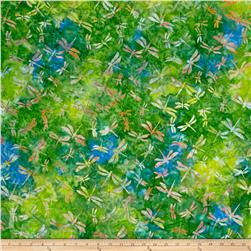 Indonesian Batik Dragonfly Green