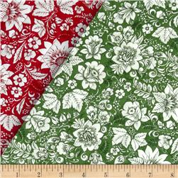 Season's Greetings Double Faced Quilted Floral Red