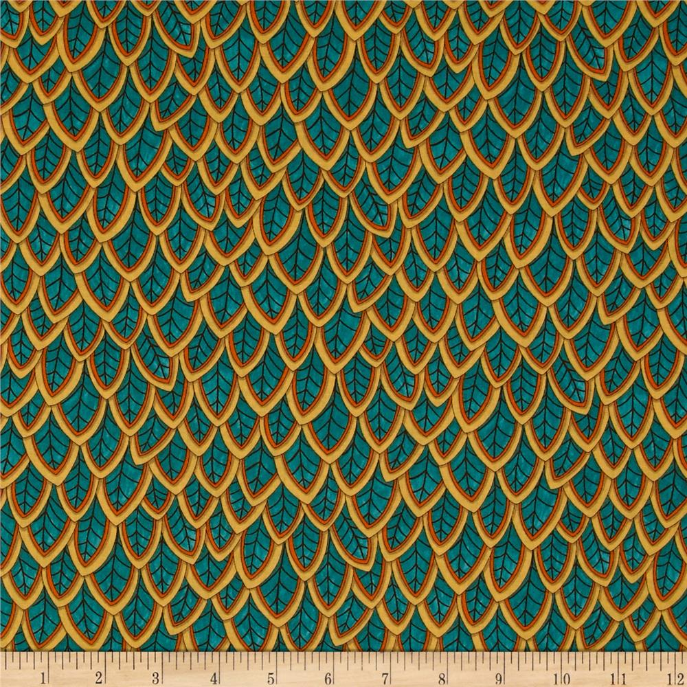 Moda Forest Fancy Fanciful Feathers Autumn Teal