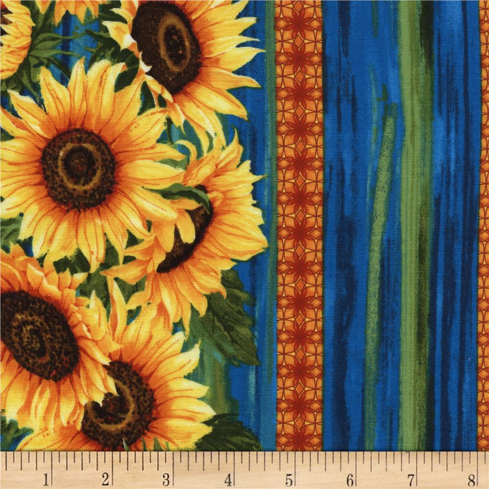 Timeless Treasures Wild Gold Sunflower Stripe