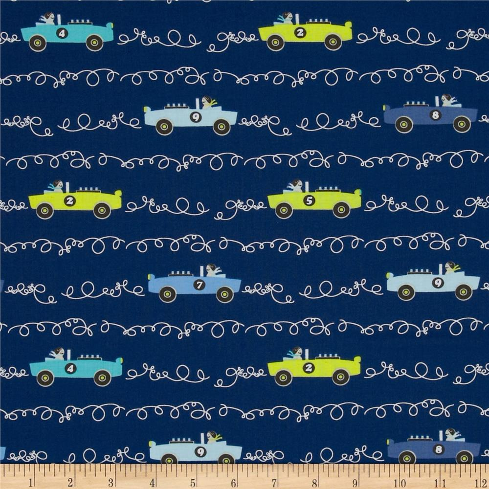 Michael Miller Retro Scribble Cars Navy