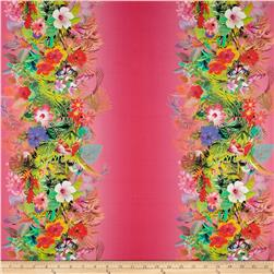French Designer Cotton Voile Striped Tropical Floral Pink/Multi