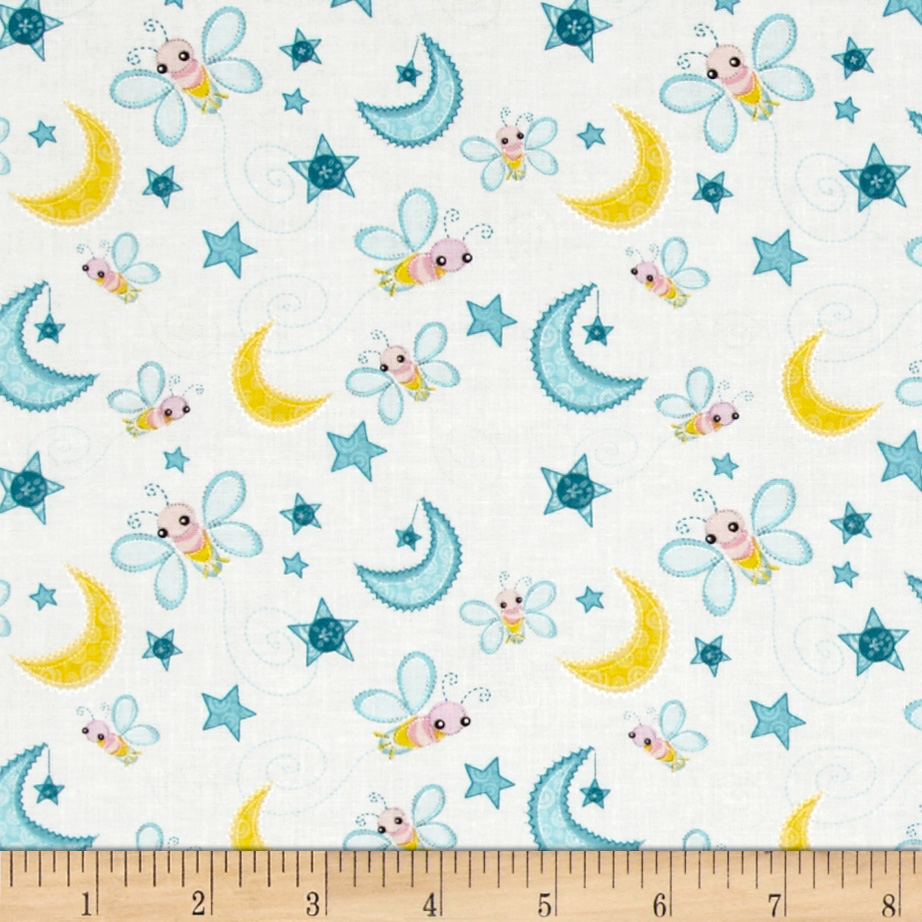 Dream A Little Dream Fireflies White Fabric