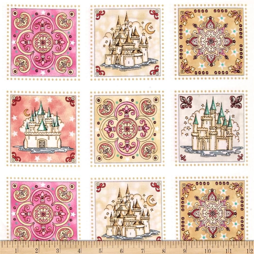 Royal Princess Castle & Medallion 36 In. Patch Multi Fabric By The Yard