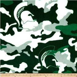 Michigan State University Fleece Camo Green/White Fabric