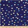 Dakota Stretch Rayon Jersey Knit Hearts Navy